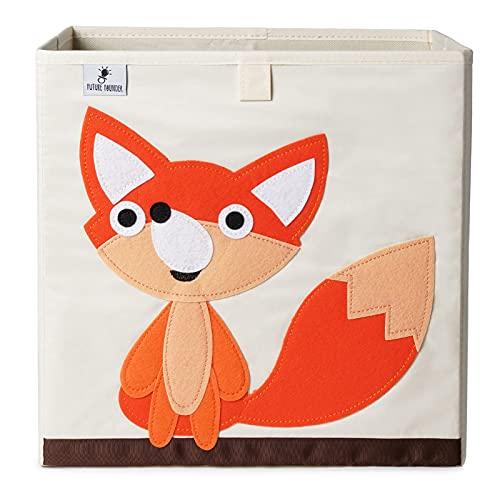 Barnförvaringsbox, leksakslåda för barnrum (33 x 33 x 33 cm) för förvaring i Kallax-hylla, hopfällbar låda, förvaringskorg, barnleksaksförvaring (räv)