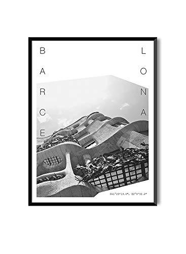 MILUKA Láminas para Enmarcar para Cuadro de Estilo Fotográfico | Póster de Ciudades y Viajes | Barcelona | Blanco y Negro (20x 30 cm)