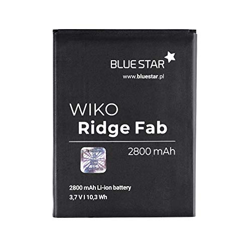 Blue Star Premium - Li-Ion Lithium Akku 2800 mAh Kapazität Schnellladung 2.0 Kompatibel mit dem Wiko Ridge Fab