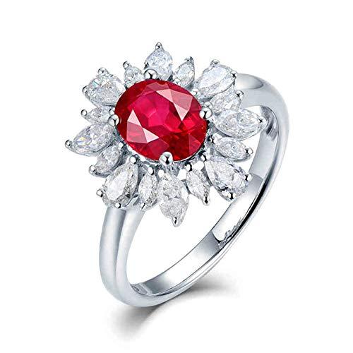 Beydodo Anillos Mujer,Anillos Mujer Oro Blanco 18 Kilates Plata Rojo Flor con Oval Rubí Rojo 1.2ct Diamante 0.88ct Talla 9,5(Circuferencia 49MM)
