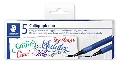 Staedtler 3002 C5 Kalligraphie Doppelmarker mit Keilspitze, 2 Spitzen 3.5 mm und 2 mm, 5 Stück in verschiedenen farben