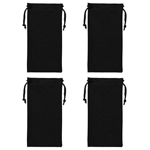 Microfibre Drawstring Glasses BagGadget Pouch 4 Pack Black