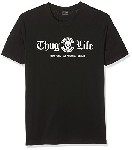Mister Tee Herren Thug Life Cities T-Shirts, Black, M