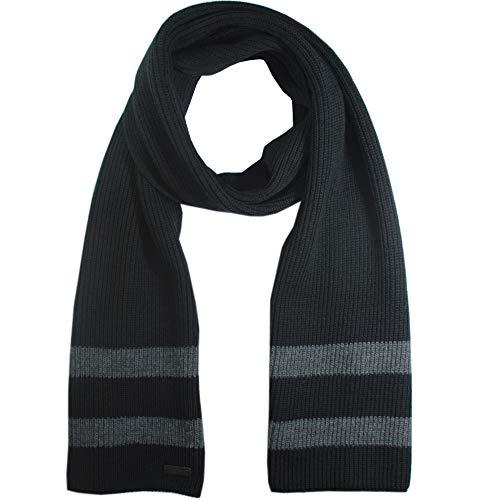 Boss Hugo Beniamino Écharpe en tricot pour homme 100 % laine - Noir - taille unique