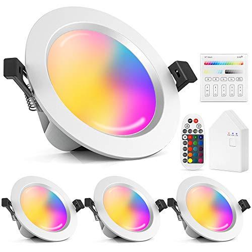 4er Set Wlan Bluetooth 15W LED Einbaustrahler RGBW+CCT Dimmbar Einbauleuchten mit Bluetooth Fernbedienung,Touchscreen Schalter, Smart Bridge,Kompatibel mit Alexa Google Assistant