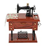 Vintage Mini Sewing Machine Music Box,Retro Classical Treadle Sewing Machine Table Desk Mechanical Clockwork Music Box for Home Decor