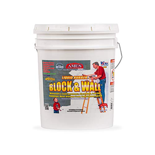 AMES BWRF5 Water Base High Strength Elastomeric Liquid Rubber, 5 Gallon White