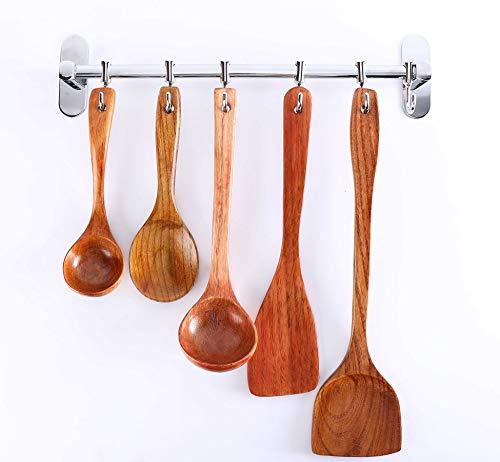 Walaykutub - Cucharas de madera para cocina, utensilios de cocina, utensilios de cocina de madera natural, juego de utensilios de cocina y ensalada (5 unidades)