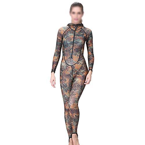 Chengleilei Damen Camouflage Taucheranzug Siamese Zip Sunscreen Taucheranzug Säure und Alkali mit Brustpolster Mit Kapuze Badeanzug (Farbe : Camouflage, Size : XL)