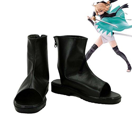 Fate/Grand ordre Sabre Okita Souji Cosplay Chaussures Bottes fabriqué sur mesure, Homme, noir