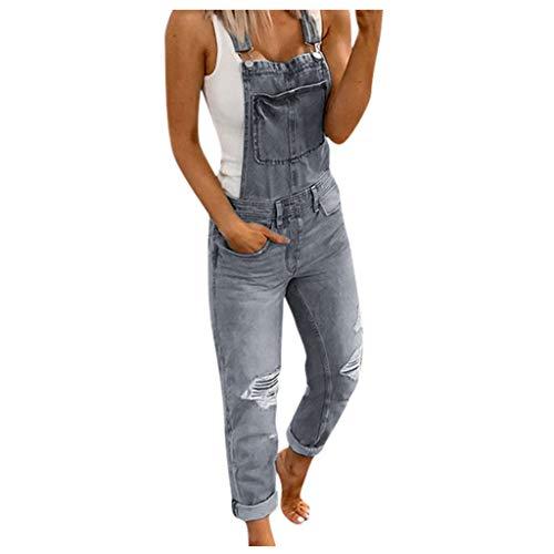 Damen Sommer Jumpsuit Mädchen Sommer Trekkinghose Kinder Schlafoverall Kinder Jeans Sommerhose Jumpsuit Schwarz Ouvert Strumpfhose Overall Winter Jeans Trainingshose(Grau,XL)
