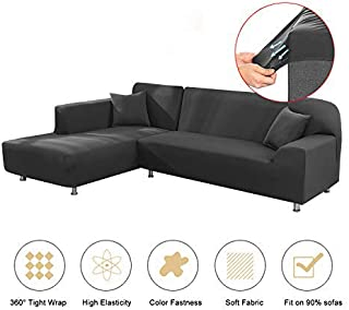 Mingfuxin Sectional Sofa Cover 1 2 3 Seater, Stylish Furniture Protector for I/L Shape Sofa Couch Sectional, Slip Resistance Slipcover for Living Room(Grey)