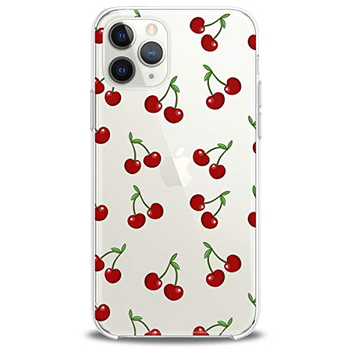 Cavka TPU Cover for Apple iPhone Case 11 Pro Xs Max X 8 Plus Xr 7 SE 2020 Cherry Soft Red Lightweight Lovely Tropic Food Fruit Clear Summer Print Design Flexible Silicone Slim fit Gift Cute Luxury