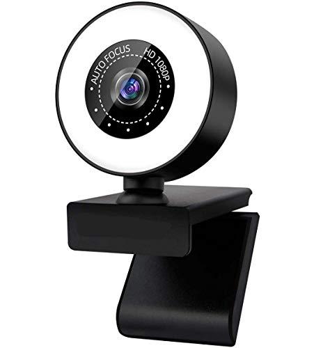 YHX Streaming HD Webcam 1080P con Anillo De Luz, Micrófono Integrado Y Enfoque Automático Avanzado, para Mac Windows Laptop Conferencias Juegos Xbox Skype OBS Twitch Youtube Xsplit