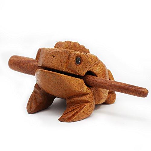 Aussel Guiro Frosch aus Holz mit Schlägel, große Ausführung, Musikinstrument Ton-Block