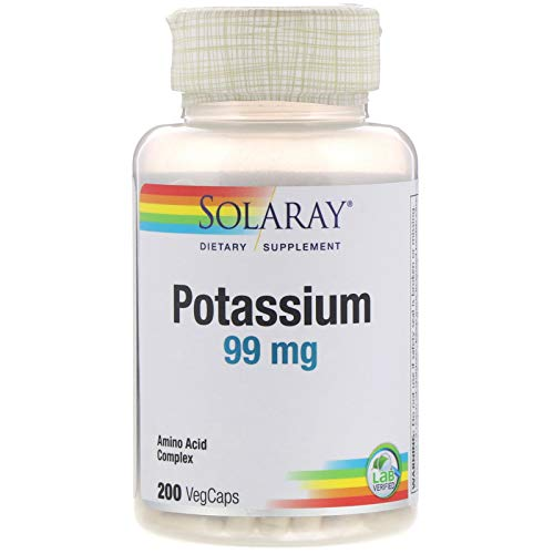 Solaray Potassium 99mg   Fluid & Electrolyte Balance Formula   Heart, Nerve & Muscle Function Support   200ct