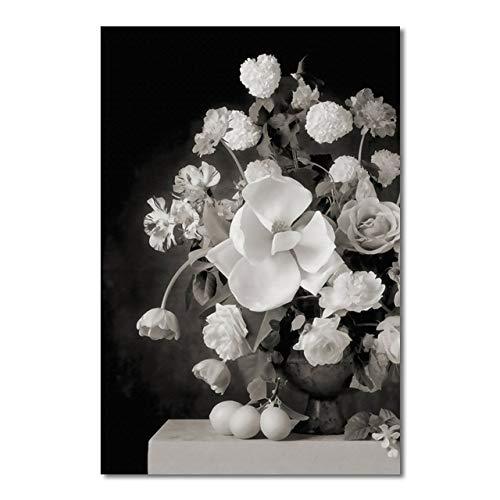 LiMengQi Quadri in Bianco e Nero di Fiori Decorativi Dipinti su Tela Poster e Stampe d'Arte a Parete per la Decorazione Domestica del Soggiorno (Senza Cornice)