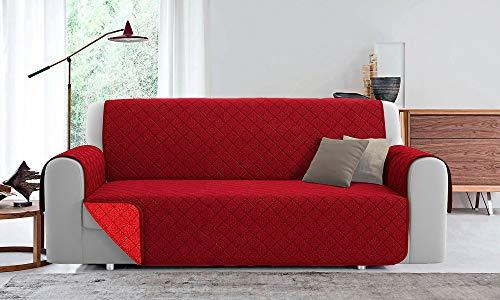 Funda de sofá acolchada reversible PET Friendly (burdeos/rojo, 4 plazas 220 cm)
