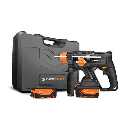 EnerTwist 20V MAX Brushless Cordless Rotary Hammer SDS Kit w/ 2-Packs 4.0Ah Lithium-Ion Battery, 1.8A Charger and Tough Carrying Case, ET-RH-20BL