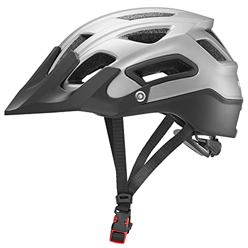 ROCKBROS Casco Aerodinámico con Visera Ajustable Desmontable de Bicicleta MTB,...