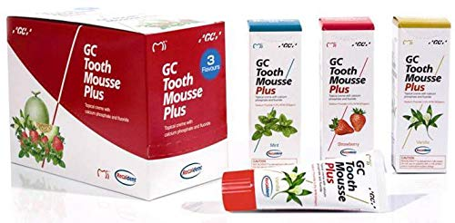 GC Tooth Mousse Plus Assorted Pack Of 3 x 40g Tubes Strawberry, Mint, Vanilla