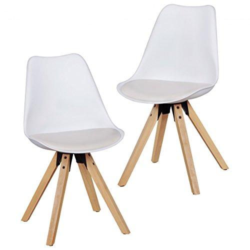 KADIMA DESIGN Lot de 2 Chaise à Manger Retro Lima Blanc | Dossier de Chaise rembourrée scandinave | Chaise de Cuisine en Simili-Cuir rembourré