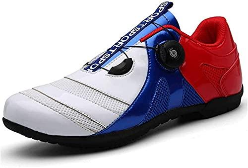 Zapatillas de Ciclismo Para Hombre y Mujer, Antideslizante, Sin Bloqueo, Para Carretera, Para Hombre, Para Bicicleta, Al Aire Libre, Zapatillas de Deporte Profesionales Para Carretera,Red-44EU