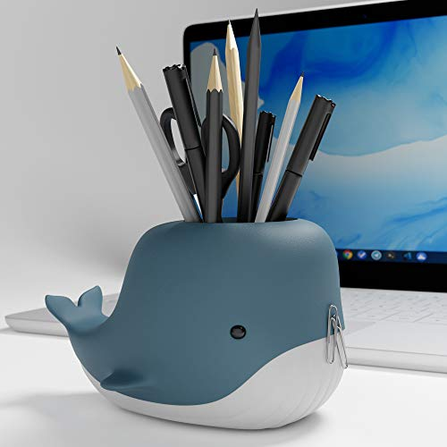 Moby Desk Whale Pen Pot+ Phone Holder – Novelty Pen / Pencil Organiser for Work or Home – Fun Pencil Cup – Whale Desk Organiser Desk Tidy