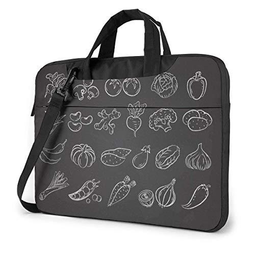 Kreide White Line Sketch Gemüse Menü Tisch Laptop-Tasche Notebook Computer-Schutzhülle Anti-Scratch Handtasche Umhängetasche