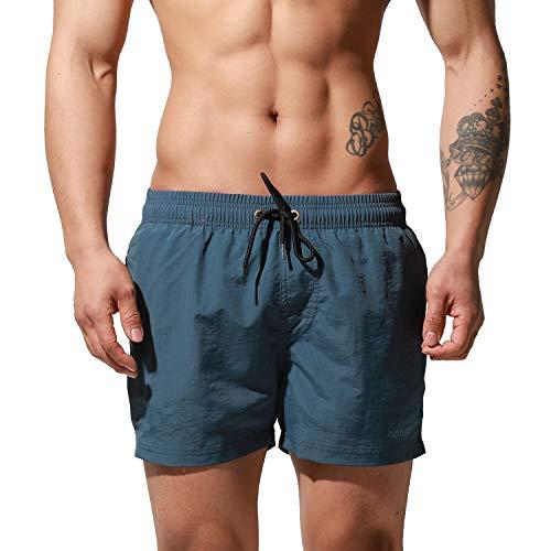 DESMIIT Men's Qucik-Dry Board Shorts Loose Swimming All-Day Comfort Surfing Swimwear Blue Medium