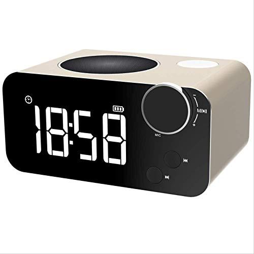 Radiogestuurde digitale wekker, intelligente draadloze Bluetooth-luidspreker, tijd, wekker, slaap, luidspreker, radio, LED-nachtlampje, goud