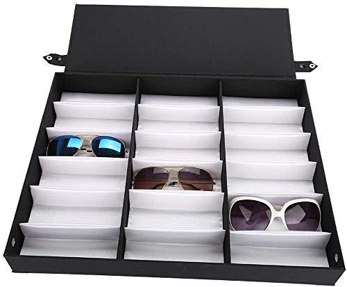 18 gafas de sol de rejilla, vitrina, gafas, caja de almacenamiento, caja...