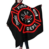 Fire Department Logo Firefighter Barber Cape Cover Cloak Professional Salon Polyeaster Hairdressing Haircut Apron Hair Cutting Kits Hair Cutting Cape With Snap Closure