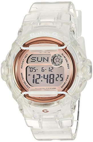 Casio Stainless Steel Watch with Resin Strap, Clear, 19 (Model: BG-169G-7BCR)