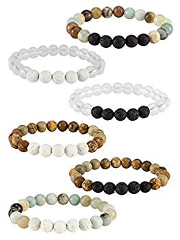 6 Pack Lava Stone Bead Bracelet,Natural Stones Stretch Bracelets - Aromatherapy Essential Oil Diffuser Healing Crystal Bracelets for Women Girls  8mm