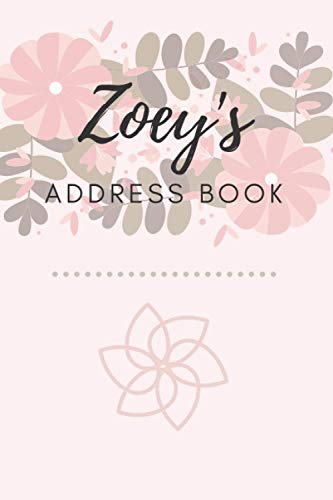 Address Book | Zoey: 6 x 9 Inches | 208 Entries | 104 Pages | Contact Book | Alphabetical with Letter on Each Page | Name | Address | Phone | Numbers | Email | Notes