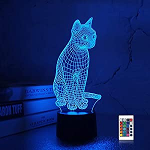 Lampeez 3D cat Lamp Night Light 3D Illusion lamp for Kids, 16 Colors Changing with Remote, Kids Bedroom Decor as Xmas Holiday Birthday Gifts for Boys Girls