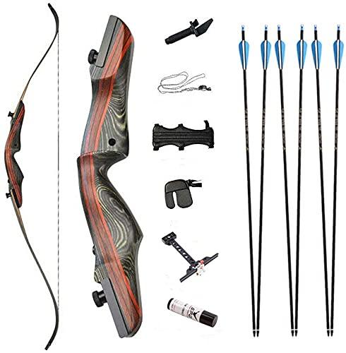 WSVULLD Jóvenes adultos recurvan lazo y conjunto de flechas, kit de tiro con arco de madera de madera al aire libre que caza el arco largo con la vista de arco y la cera del arco para los adol