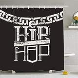 Cortinas de baño/Bath Curtain, Shower Curtains 72 x 78 Inches Rap Label Circuit Hip Hop Chain Music Waterproof Fabric Bathroom Home Decor Set Hooks