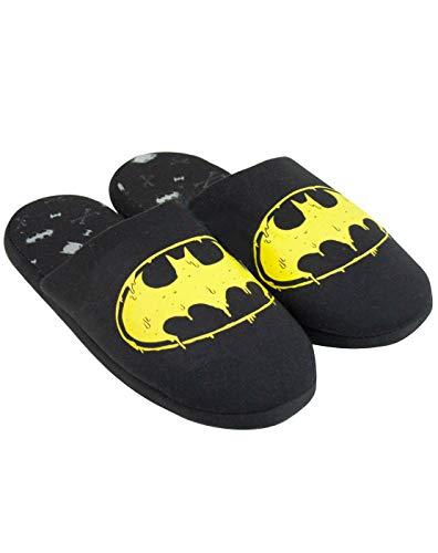 DC Comics Batman Slippers Logo Men's Black Polyester House Shoes 10 US