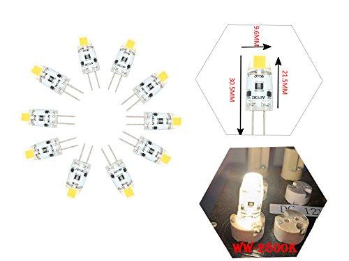 NJYTouch 20PCS G4 1.2W 0705 COB Nature Blanc 4300K Bi-Pin Base LED non-Dimmable Ampoule LED spot AC DC12V remplacement halog/ène Lustre Lampes