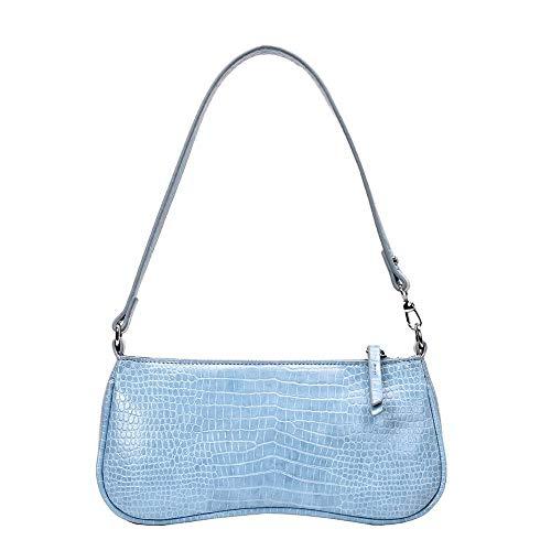 HYLXF Handtasche Vintage Krokodilleder Muster Damen Umhängetasche PU Leder Straße lässig einfarbig Reißverschluss Umhängetasche