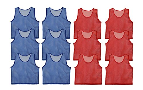 Get Out! Set of 12 Scrimmage Vest Pinnies for Teen/Adult in Red and...