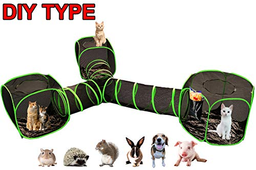 OUTING MAN 4 in 1 Compound Pet Play Tunnel House Cat Dog Rabbit Tent Cube Indoor/Outdoor Playpen Portable Large Instant Pop-Up Pet Enclosure - Safe DIY Play House for Cats & Dogs - Outside Habitat