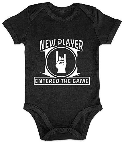 """Hariz - Body de manga corta para bebé, diseño de pingüino con texto en inglés """"New Play"""" (divertido, para nacimiento, día del padre, tarjetas de regalo, pingüino), color negro"""