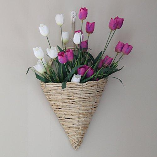 WXL Gefälschte Blume Hauptblumenkorb-Simulationsblume, spinnendes Rattan Linie 12 Restaurant-Set, Wandwohnzimmer Blume (Color : Purple)