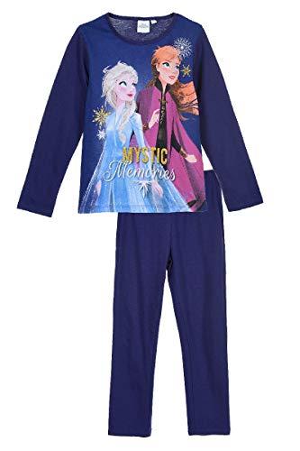 Eiskönigin Schlafanzug Pyjama Langarm Mädchen (Blau, 116)