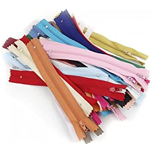 DSYJ 50pcs 7 Inches Nylon Zippers for Sewing Random Color