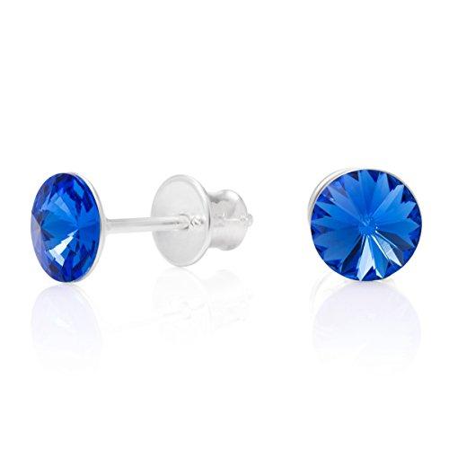 LillyMarie Donne Argento Orecchini a Perno 925 blu Punto Luce Swarovski Elements Originali Rotondi Sacchetto per Gioielli Regali di Coppia