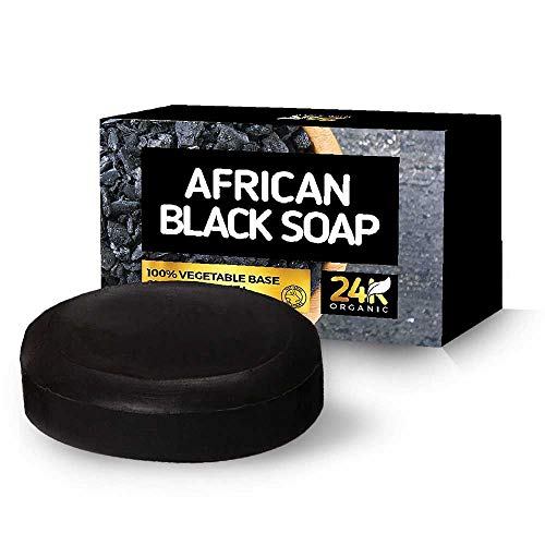 24K Organic African Black Soap Face and Body Bar infuses moisture and clears skins from bumps, spots, acne, and eczema.